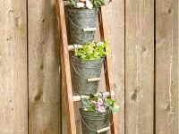 cute-rustic-garden-ladder-shelf-with-galvanized-metal-buckets-for-plants