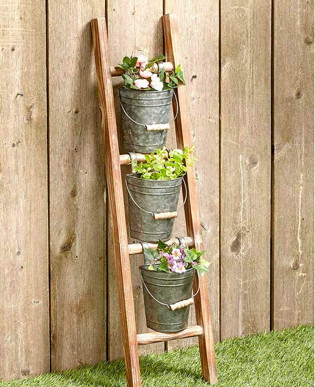 cute-rustic-garden-ladder-shelf-with-galvanized-metal-buckets-for-plants