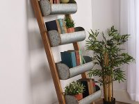 cute-rustic-ladder-shelf-with-galvanized-metal-baskets-for-herb-garden-home-library-kitchen-or-living-room