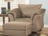 Darcy – Mocha Contemporary Upholstered Chair And Ottoman With Tapered Legs Signature Designashley At Household Furniture in Unique Living Room Furniture Chairs