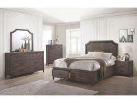 Dark Grey Oak Bedroom Furniture 4Pc Set Queen Size Bed W Storage Drawers Fb Elegant Transitional Dresser Mirror Nightstand pertaining to Bedroom Set Queen Size