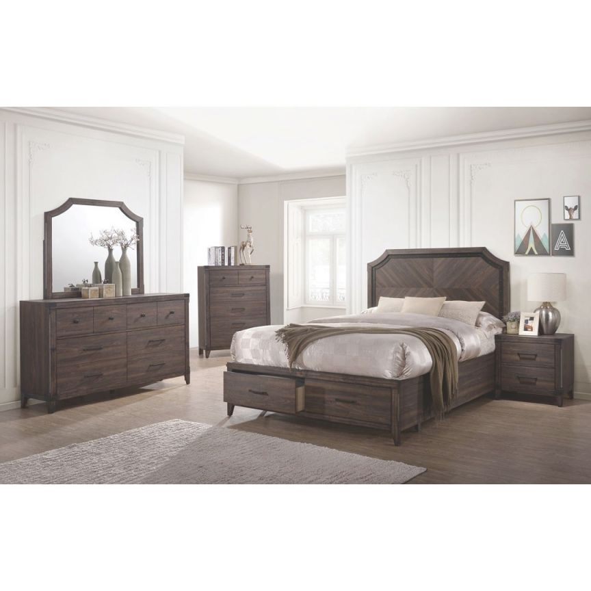 Dark Grey Oak Bedroom Furniture 4Pc Set Queen Size Bed W Storage Drawers Fb Elegant Transitional Dresser Mirror Nightstand pertaining to Bedroom Set Queen Size