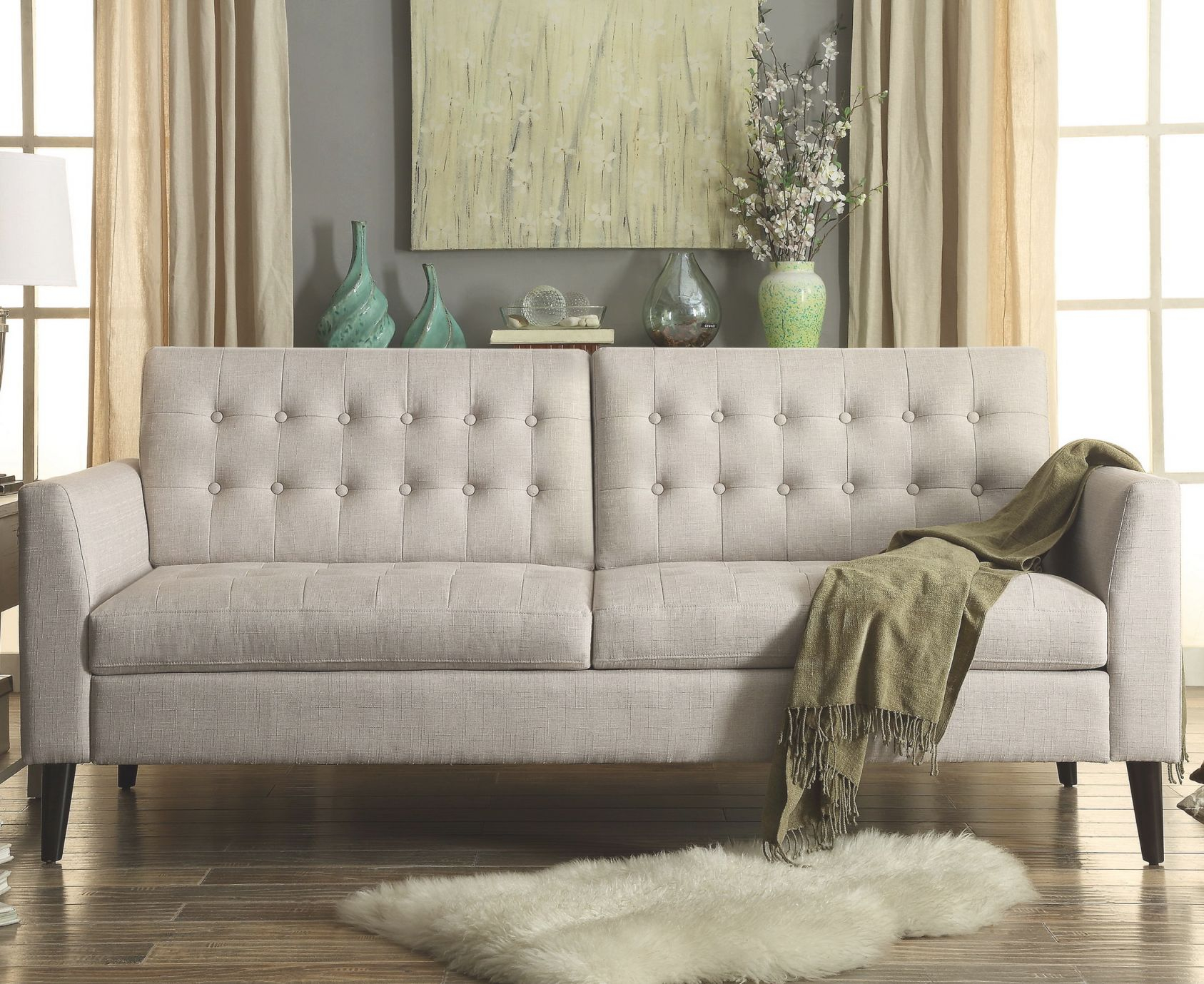 Darren Tufted Sofa pertaining to Tufted Living Room Furniture
