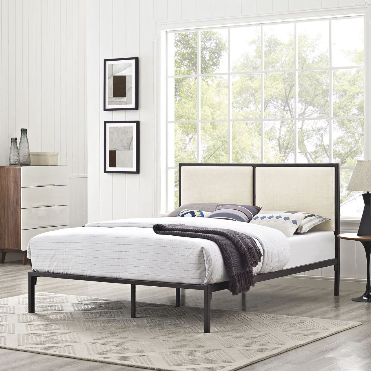 Della 5463 King Brown Metal Platform Bed Frame With Beige Fabric Panel Headboard pertaining to King Bed Frame With Headboard