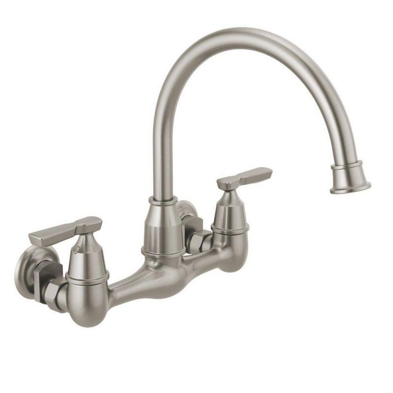 Delta Corin 2-Handle Wall-Mount Kitchen Faucet In Stainless for Wall Mount Kitchen Faucet
