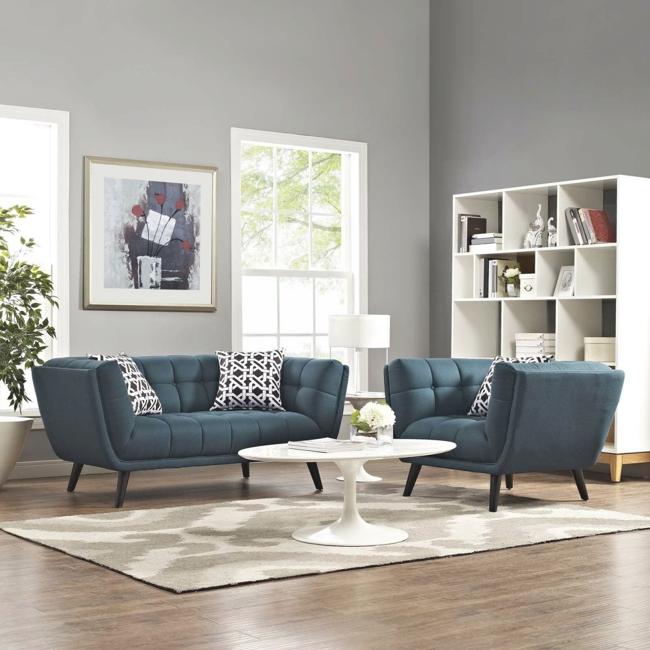 Details About 2Pc Living Room Furniture Set Tufted Upholstered Loveseat & Armchair In Blue with regard to Unique Tufted Living Room Furniture