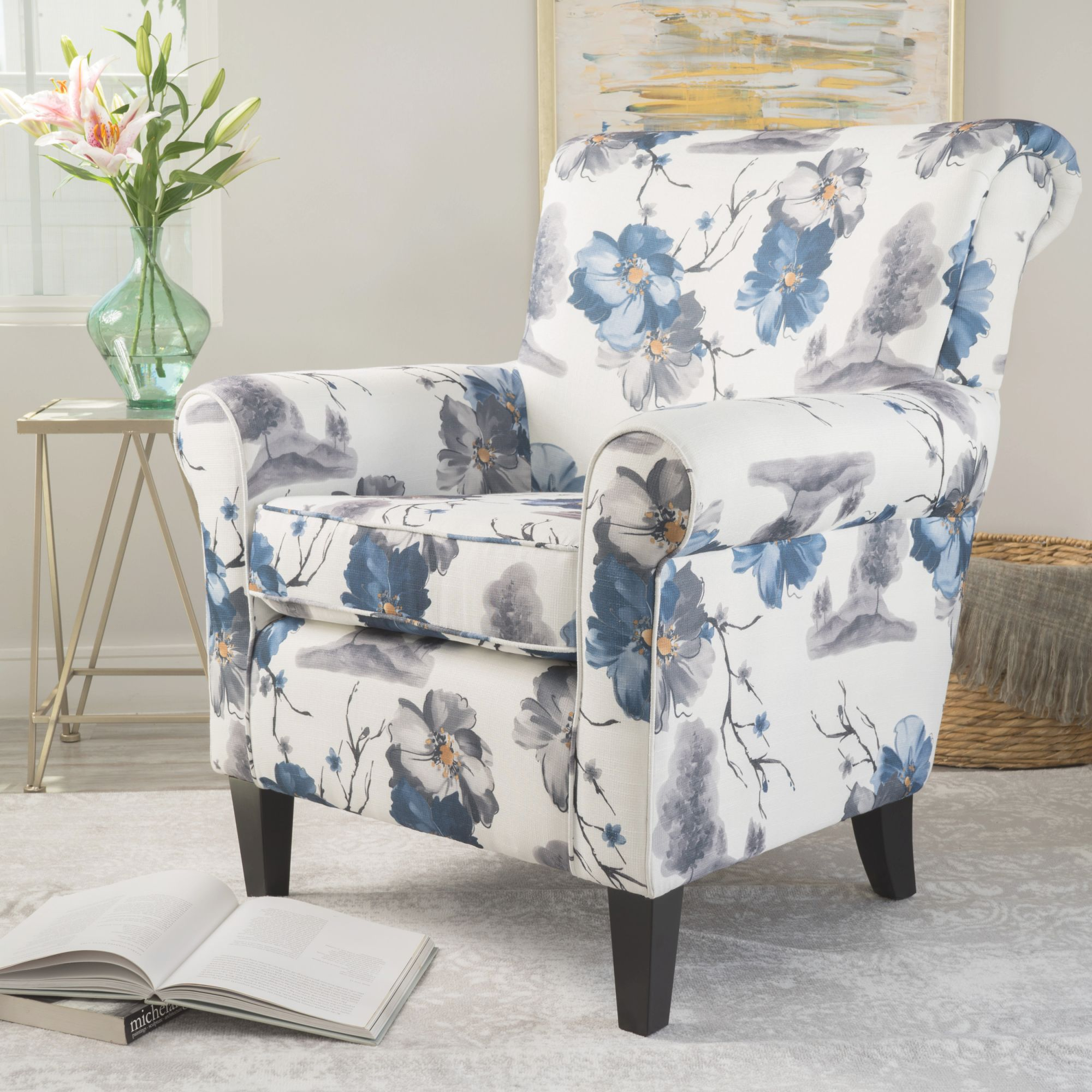 Details About Blue & White Floral Pattern Modern Fabric Club Chair Lounge Living Room Bedroom inside Floral Living Room Furniture