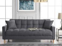 Details About Classic Fabric Couch Tufted Small Space Living Room Sofa, Natural Legs, Grey with Unique Tufted Living Room Furniture