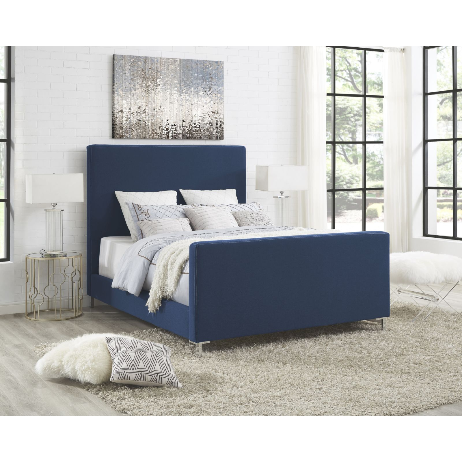 Details About Linen Platform Bed Frame Headboard Queen Or King Size Bedroom  Wood Upholstered pertaining to Best of King Bed Frame With Headboard