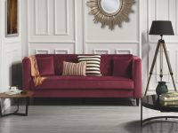 Details About Mid-Century Ultra Modern Velvet Sofa, Living Room Couch Tufted Buttons, Red with Tufted Living Room Furniture