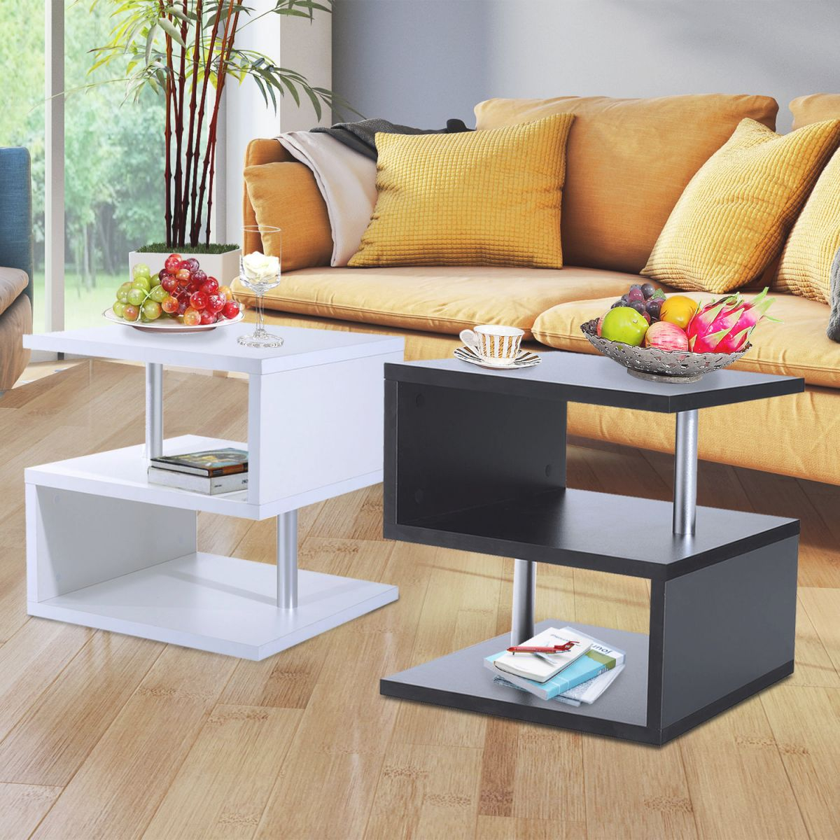 Details About Modern Coffee Table Side End Table 2 Shelf Storage Living Room Furniture for Living Room Furniture Tables
