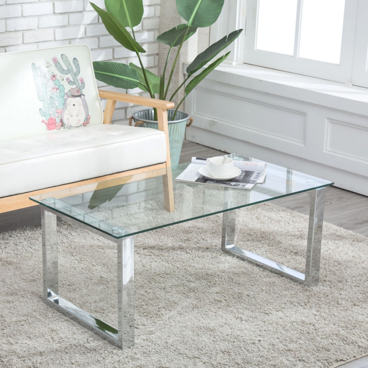 Details About Modern Glass & Stainless Steel Coffee Table Side End Table Living Room Furniture within Unique Living Room Furniture Tables
