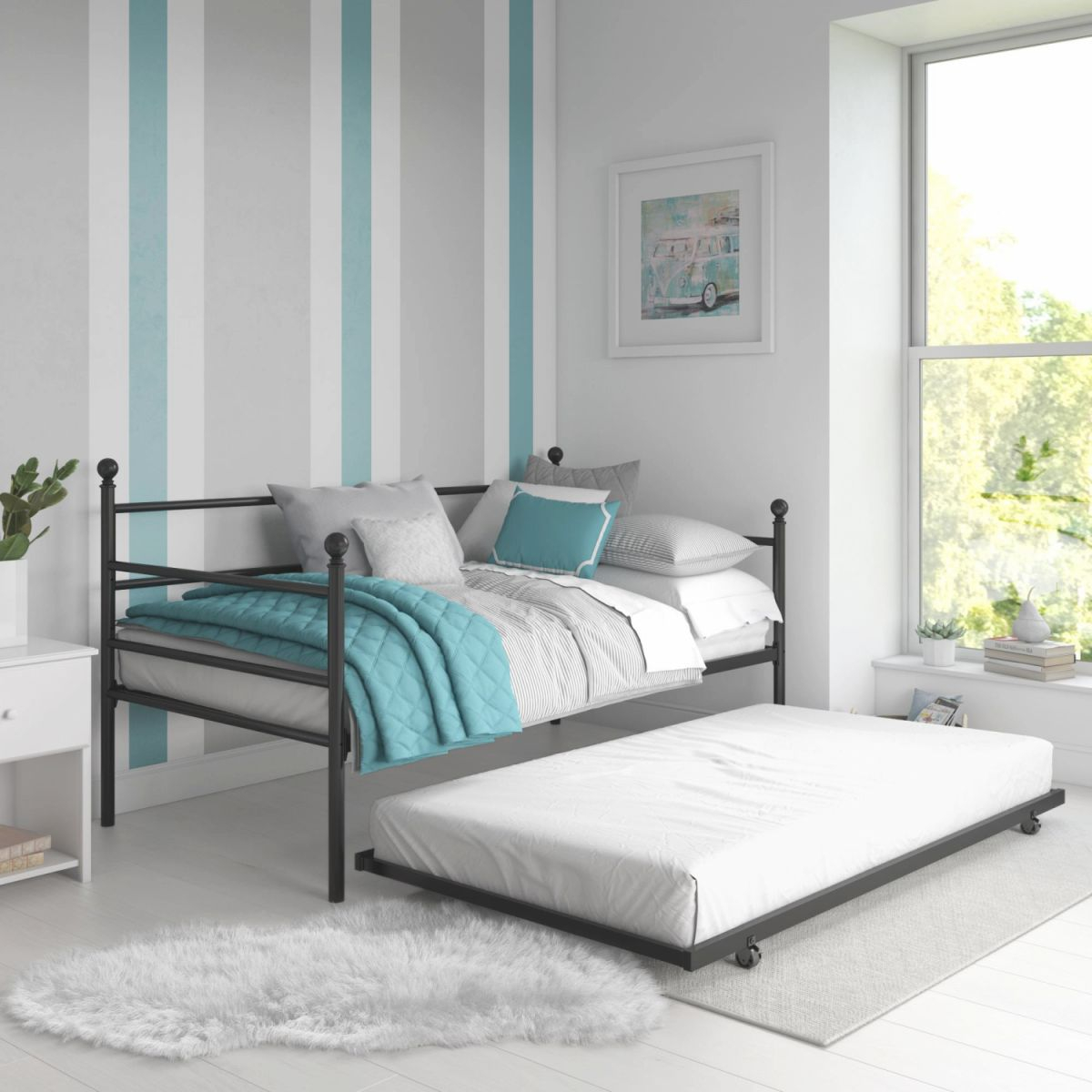 Details About Modern Metal Day Bed With Trundle Twin Size Day Bed Frame  Bedroom Furniture within Full Size Bed With Trundle Bedroom Set