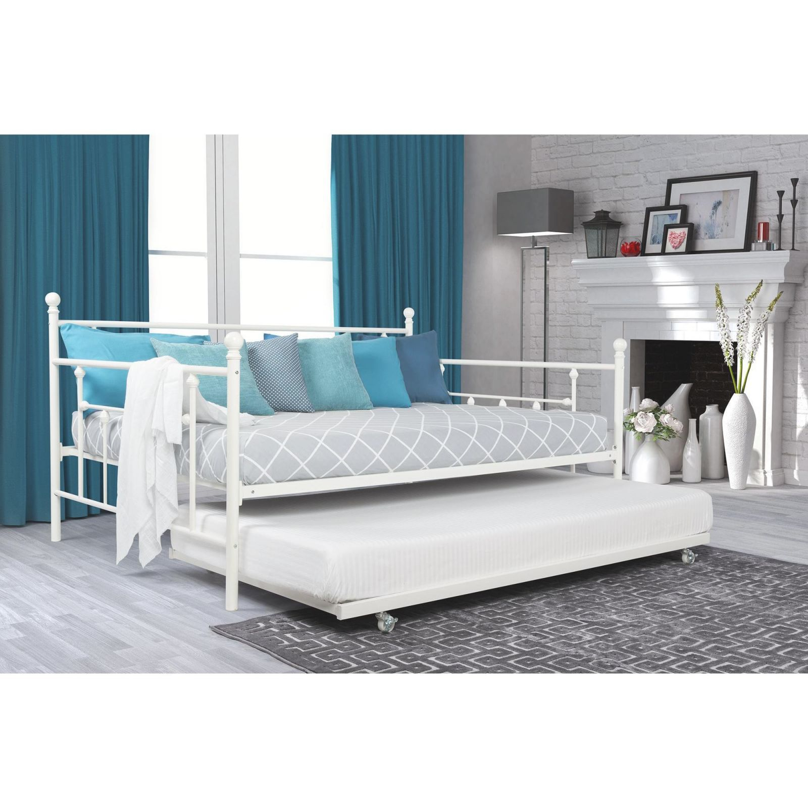 Dhp White Manila Full Size Metal Daybed And Twin Size Trundle with Full Size Bed With Trundle Bedroom Set