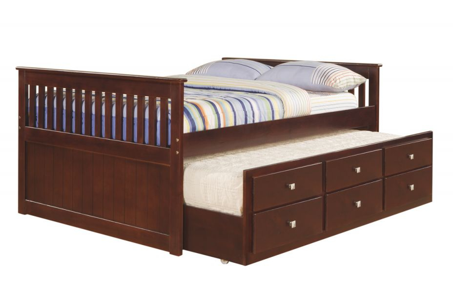 Donco Cappuccino Full Captains Bed With Trundle And Drawers inside Full Size Bed With Trundle Bedroom Set