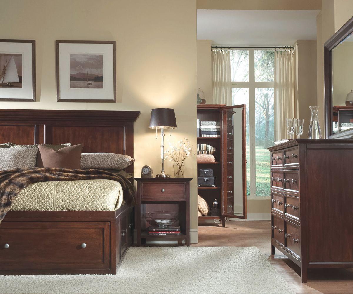 Ellsworth 4-Piece Queen Storage Bedroom Set – Cherry regarding Beautiful Bedroom Set Queen