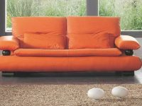 Esf 410 Contemporary Orange Italian Leather Living Room Sofa with regard to Italian Living Room Furniture