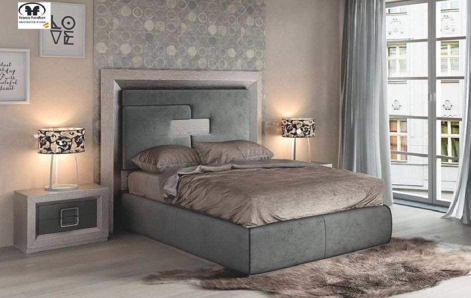 Esf Enzo Gray Wood Queen Bedroom Set 3Pcs Modern Contemporary Made In Spain with Luxury Bedroom Set Modern