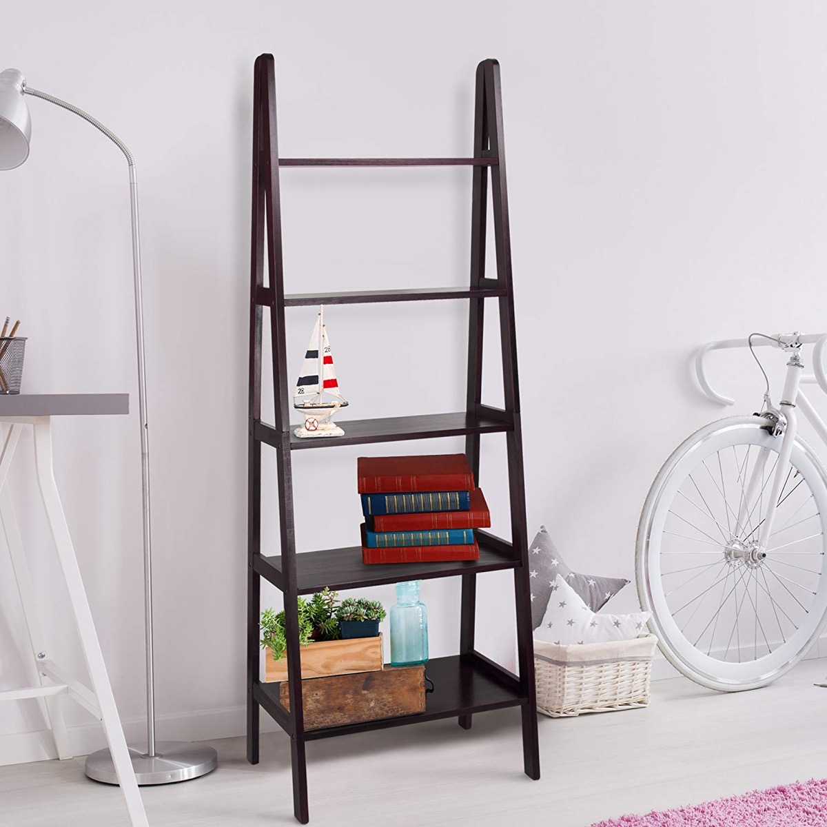 espresso-ladder-shelf-for-modern-interior-storage-living-room-bedroom-office