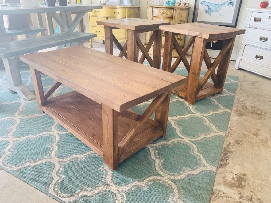 Farmhouse Living Room Set, End Tables Set And Coffee Table With A Farmhouse Provcial Brown Stain , Rustic Living Room Furniture X within Living Room Furniture Tables