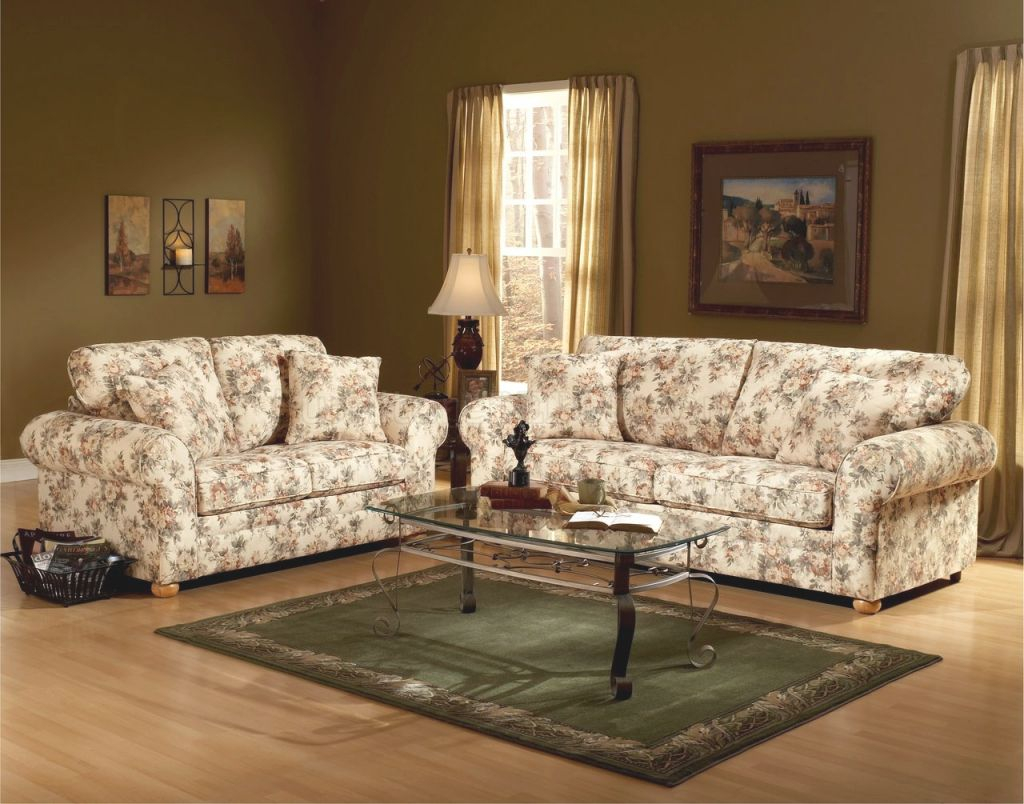 Floral Pattern Fabric Traditional Sofa & Loveseat Set throughout Floral Living Room Furniture