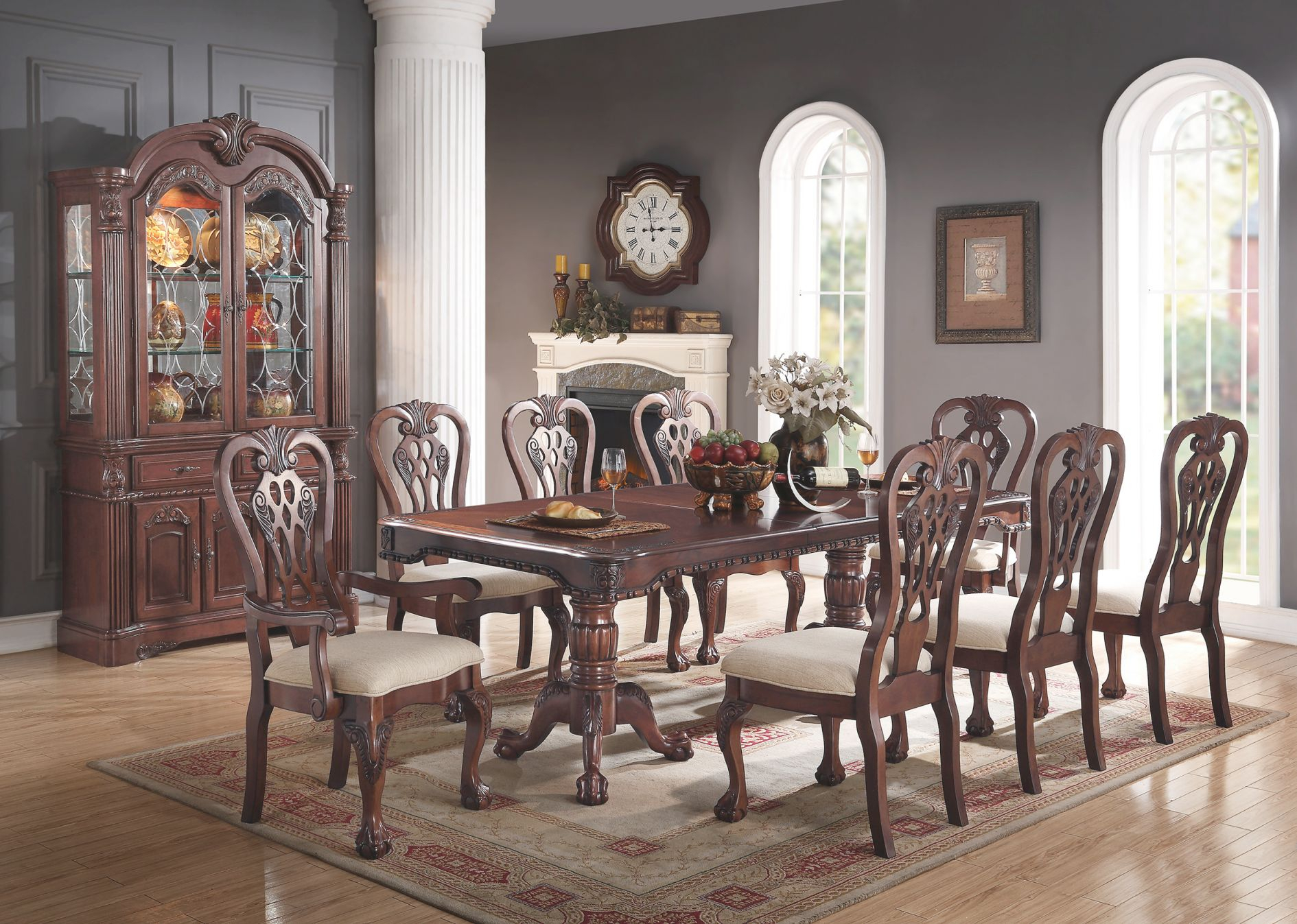 Formal Traditional Dining Room 9Pc Set Cherry Wood Finish Rectangle Dining Table Set Accent Floral Pattern Chairs Crream Cushion 6 Side Chairs & 2 Arm within Floral Living Room Furniture