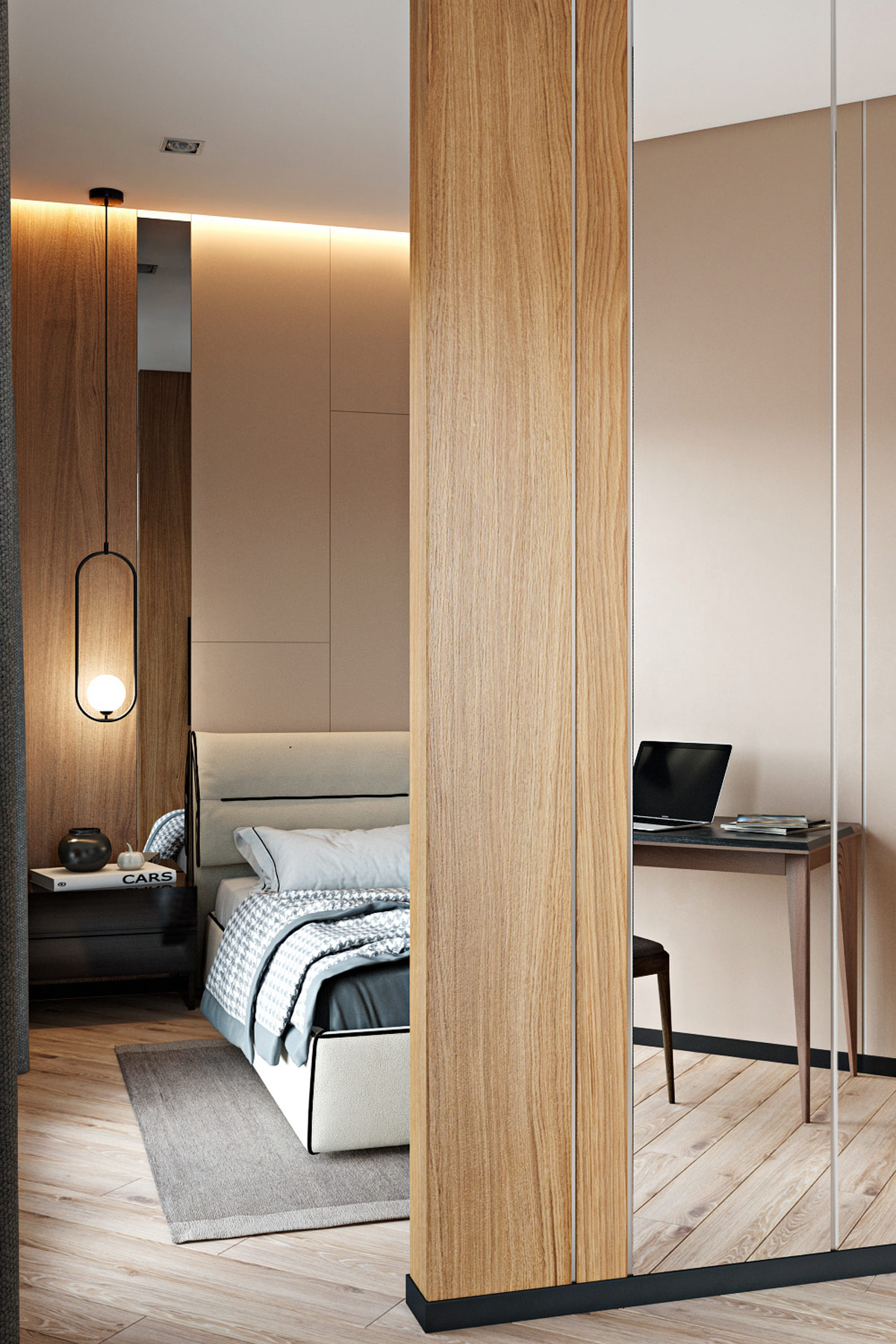 freestanding-bedroom-wall-with-floor-to-ceiling-mirrored-panels