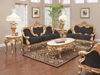 French Gold Leaf Living Room Set with Luxury Furniture Stores Living Room Sets