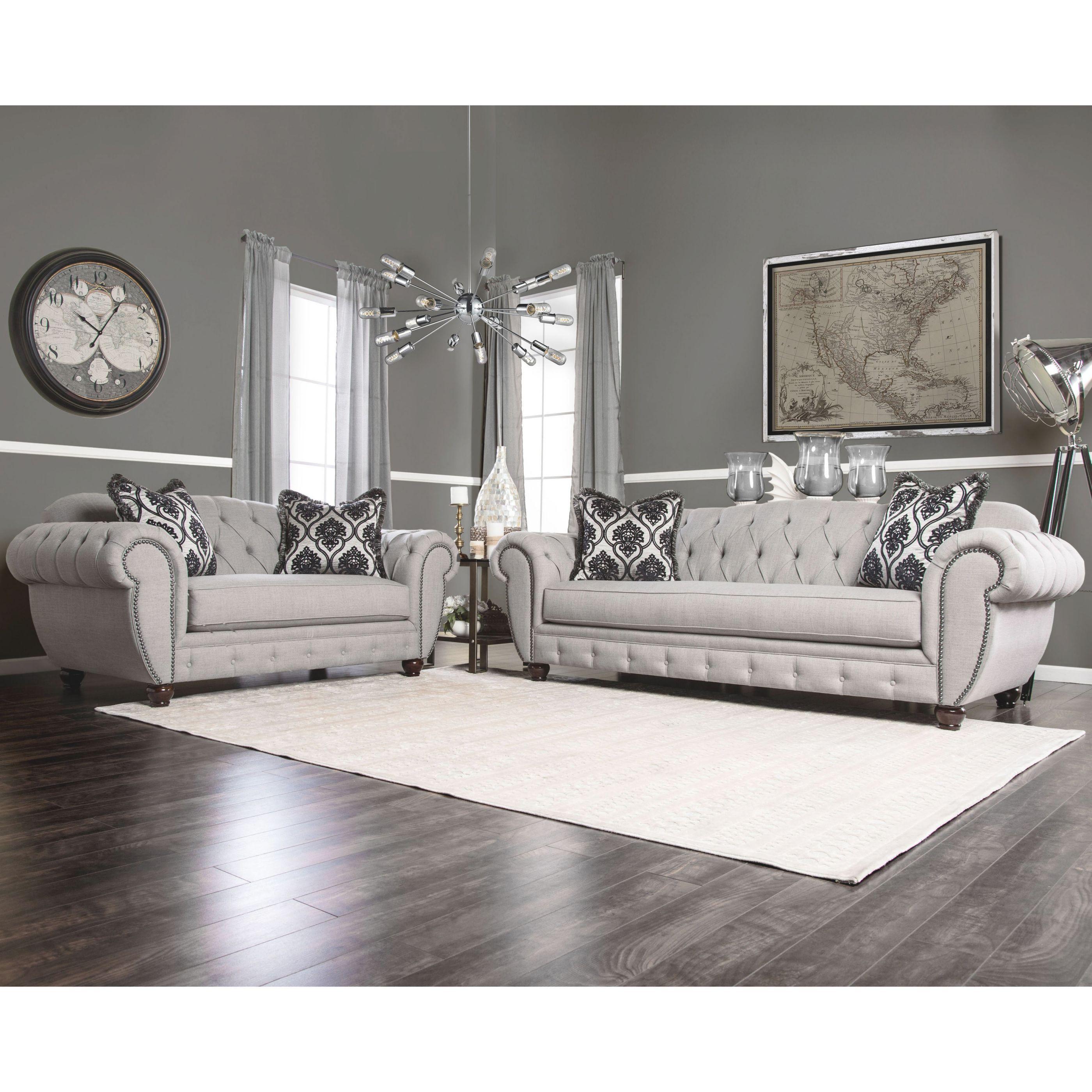 Furniture Of America Augusta Victorian Grey 2-Piece Sofa Set inside Unique Victorian Living Room Furniture