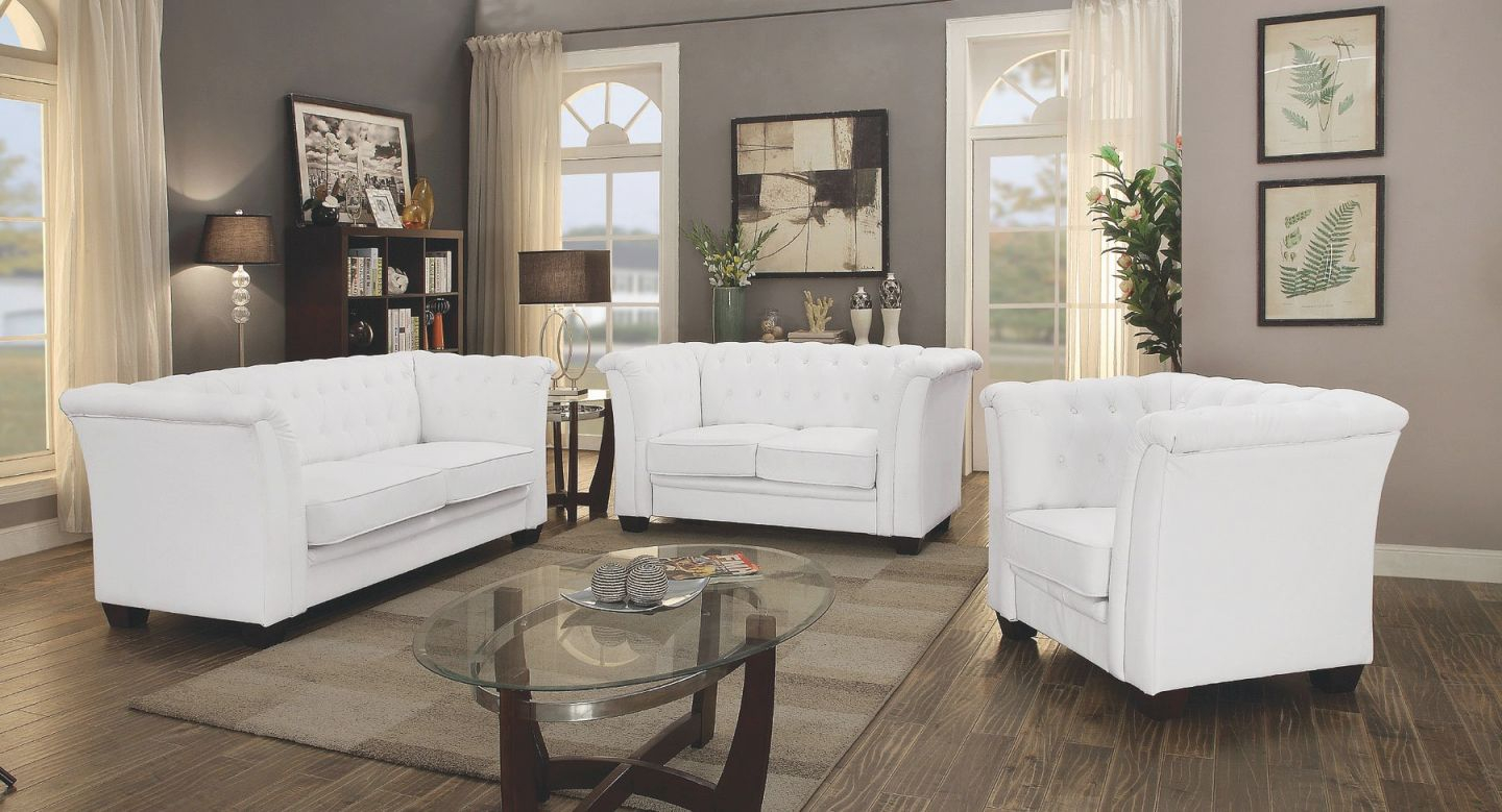G327 Tufted Living Room Set (White) within Unique Tufted Living Room Furniture