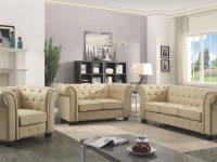 G492 Tufted Living Room Set (Beige) with Tufted Living Room Furniture