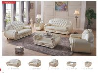 Giza Ivory Full Italian Leather Sofa Set throughout Leather Living Room Furniture