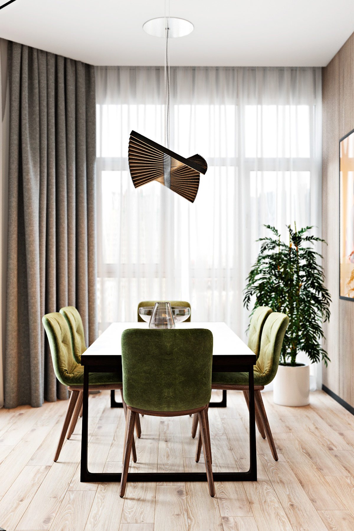 glass-vase-and-contemporary-chandelier-in-modern-green-dining-room-design