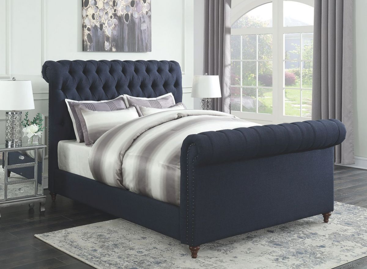 Gresham Navy Blue Woven Fabric Cal King Bed W/ Scrolled Button Tufted Headboard & Footboard regarding Best of King Bed Frame With Headboard