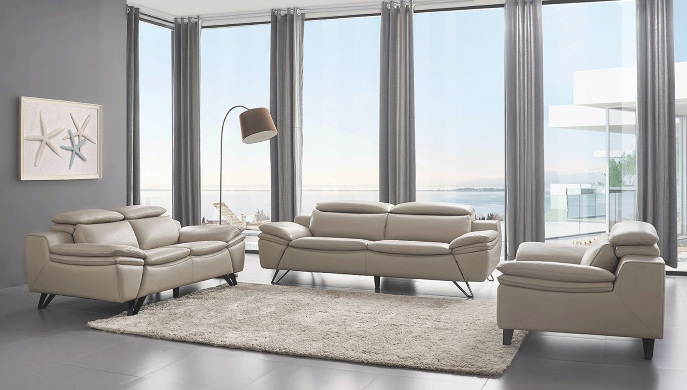 Grey Leather Contemporary Living Room Set with Beautiful Contemporary Living Room Furniture Sets