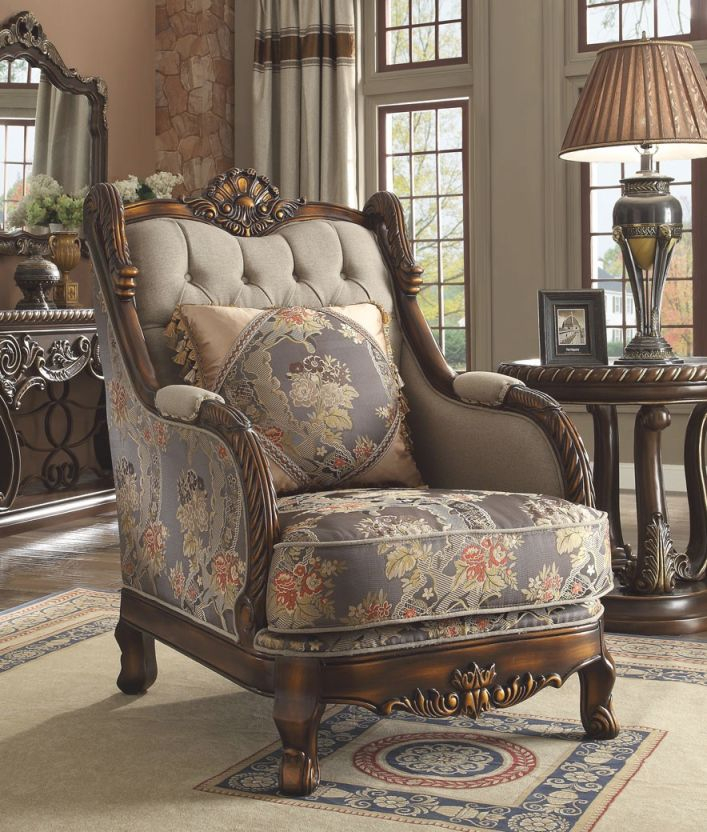 Hd 1623 Homey Design Upholstery Accent Chair Victorian, European & Classic Design within Unique Victorian Living Room Furniture