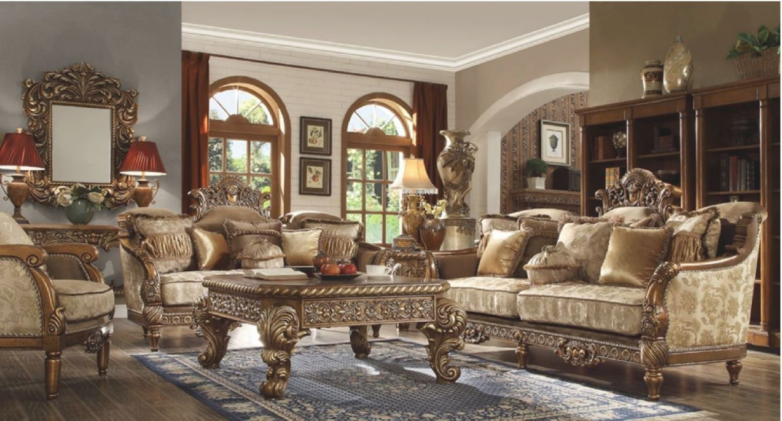 Hd 610 Homey Design Upholstery Living Room Set Victorian, European & Classic Design Sofa Set within Unique Victorian Living Room Furniture