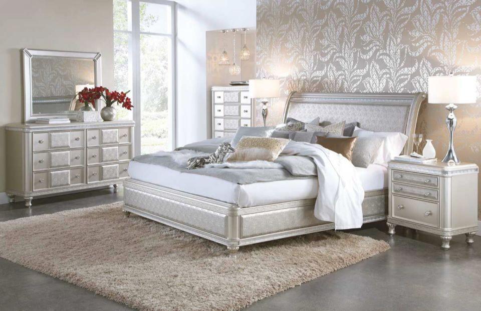 Hefner Silver 5 Piece Queen Bedroom Set within Beautiful Bedroom Set Queen