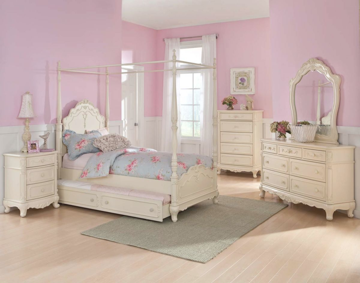 Homelegance Cinderella Twin White 5Pc Canopy Bedroom Set pertaining to Full Size Bed With Trundle Bedroom Set