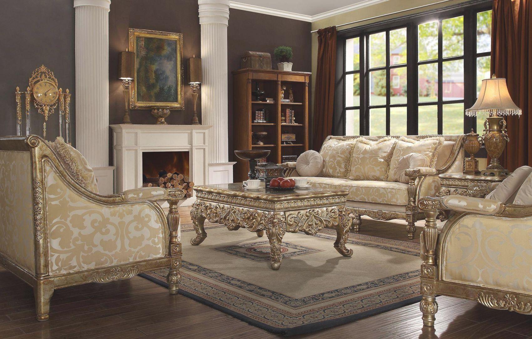 Homey Design Hd-205 Antique Gold Finish Victorian Living regarding Victorian Living Room Furniture