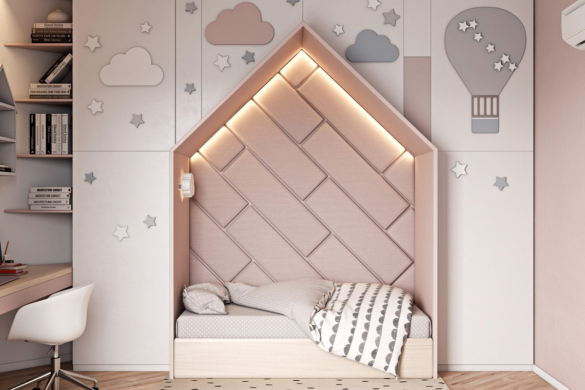 house-shaped-bed-nook-for-childrens-room-decorated-with-pink-wall-panels-and-cove-lighting