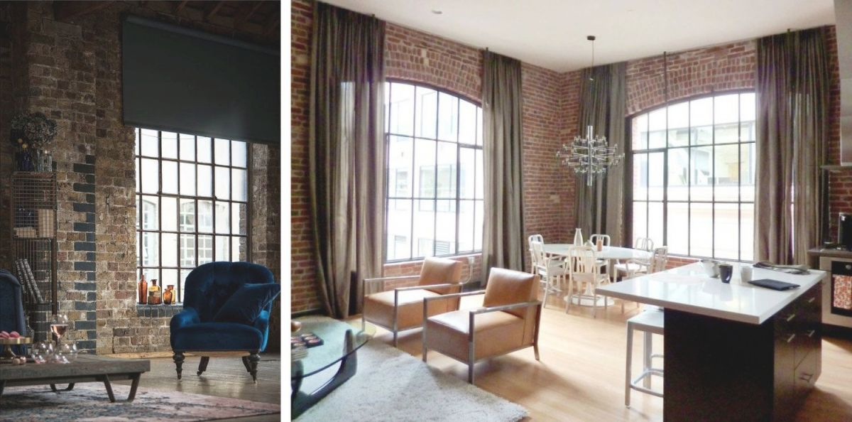 Industrial Style Window Treatments / Brick Wall / Industrial regarding Beautiful Window Treatment Ideas For Living Room