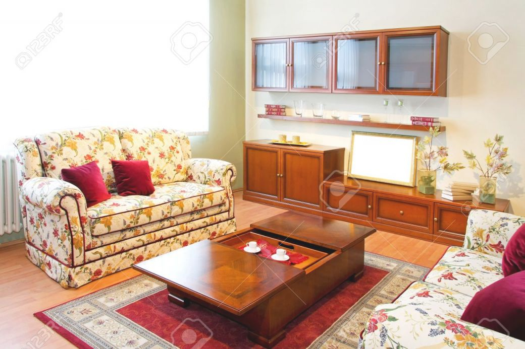Interior Of Living Room With Floral Sofa intended for New Floral Living Room Furniture