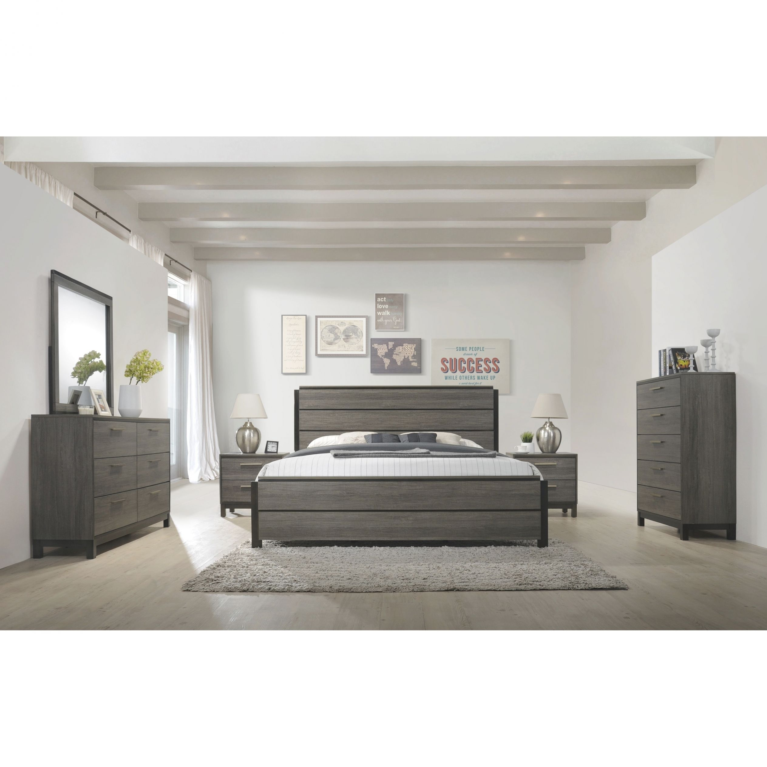 Ioana 187 Antique Grey Finish Wood Bed Room Set, Queen Size Bed, Dresser, Mirror, 2 Night Stands, Chest in Luxury Bedroom Set Queen Size