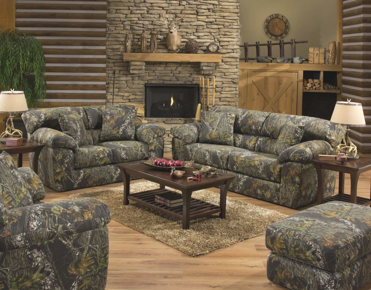 Jackson Furniture Big Game Mossy Oak Camo Sofa And Loveseat in Camo Living Room Furniture