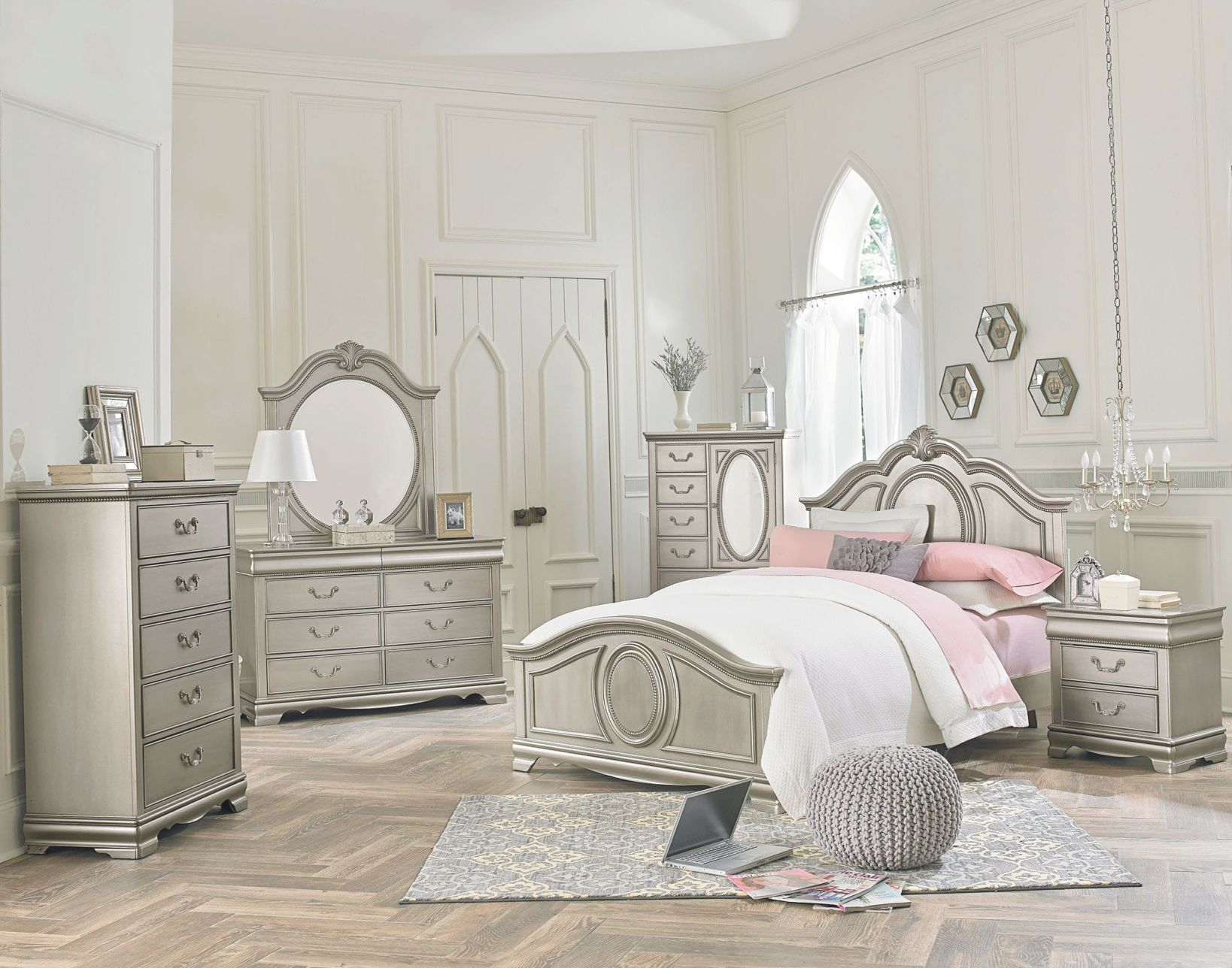 Jessica - Silver Bedroom Set | Bedroom Furniture In 2019 inside Lovely Bedroom Set Girl