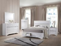 Jewel White Platform Storage Bedroom Set – Queen | Nader's Furniture for Bedroom Set Queen