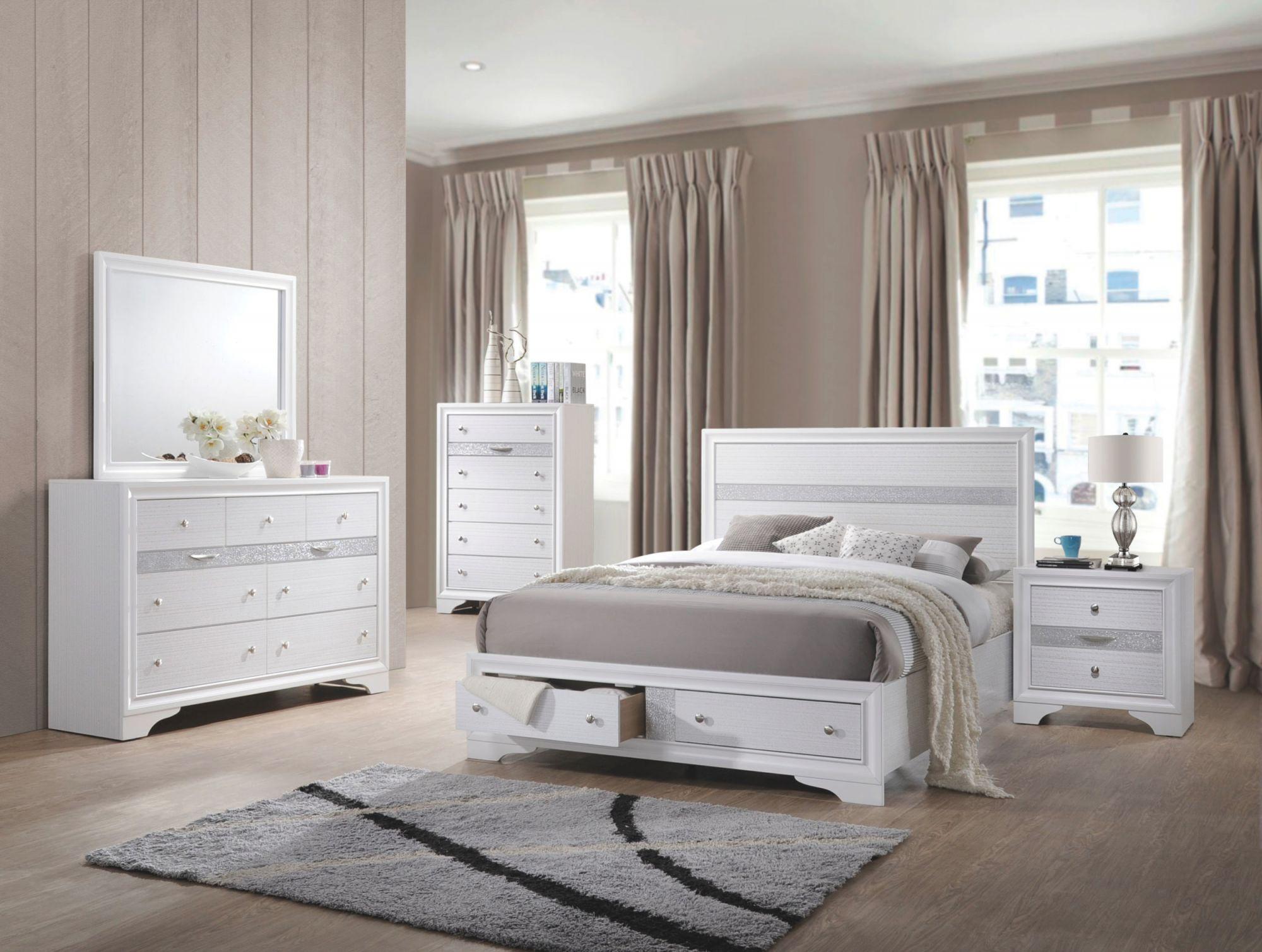 Jewel White Platform Storage Bedroom Set – Queen | Nader's Furniture for Bedroom Set Queen