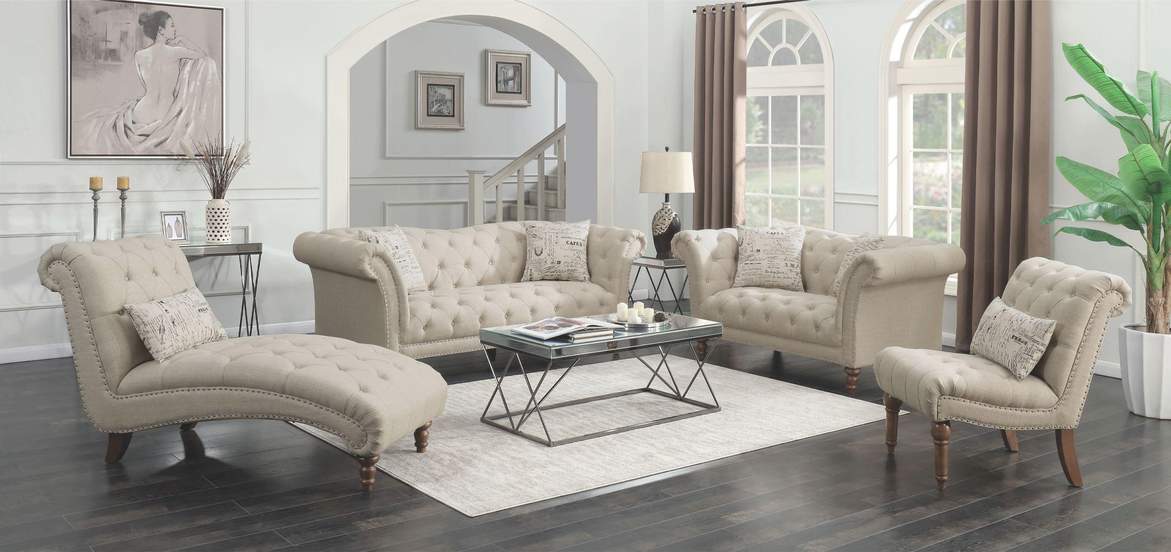Josephine 2-Piece Tufted Living Room Set Beige – Coaster for Tufted Living Room Furniture