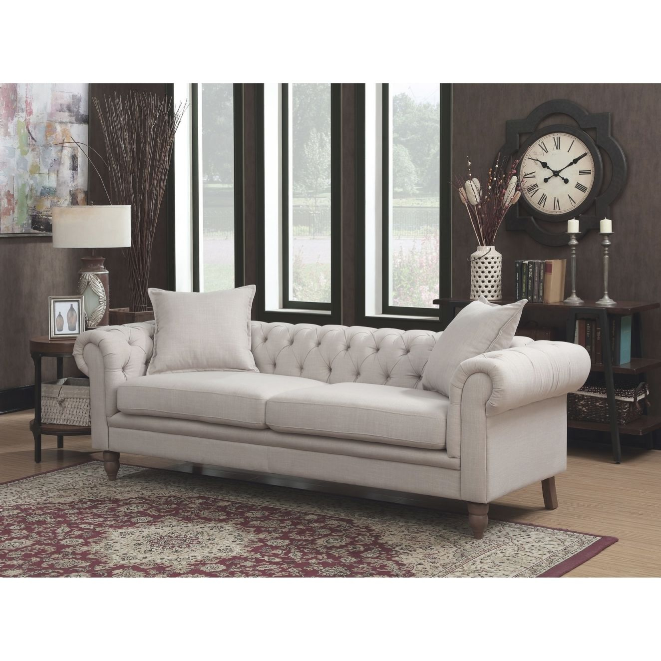 Juliet Contemporary Grey Upholstered Tufted Living Room ...